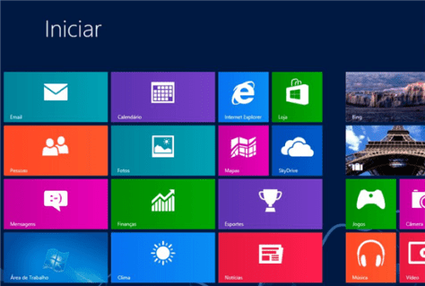 Tela de inicialização do Windows 8
