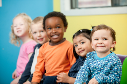 A group of preschoolers at daycare