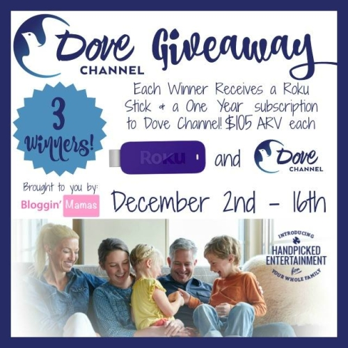 Dove Channel Giveaway. 1 year subscription + Roku. ARV $105. 3 Winners. Ends 12-16-15. US 18+.