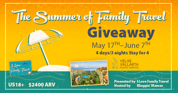 The Summer of Family Travel Giveaway- Win a 4 day/ 3 night stay for 4 to Velas Vallarta- Ends 6-7-16- US 18+