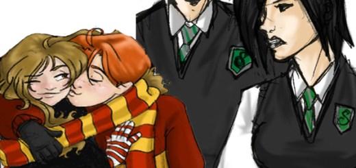 Ron Weasley y Hermione Granger contra Draco Malfoy y Pansy Parkinson