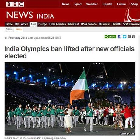 "BBC News: ""India Olympics Ban Lifted After New Officials Elected""  Photo caption: ""India's team at the London 2012 Olymics"""