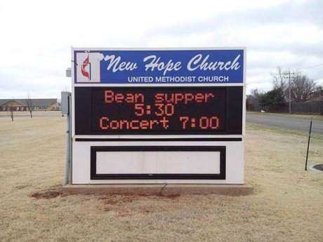 "New Hope United Methodist Church: ""Bean supper 5:30  Concert 7:00"""