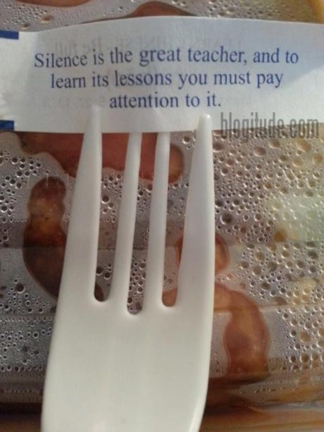 Fortune: Silence is the great teacher, and to learn its lessons you must pay attention to it.