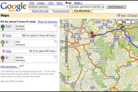 google maps multiple driving directions
