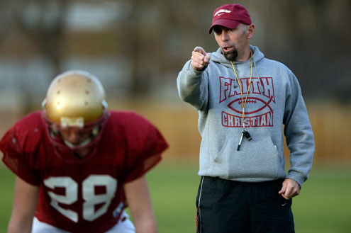 Faith Christian Eagles head coach Blair Hubbard conducts practice on Nov. 20, 2013. (John Leyba, The Denver Post)