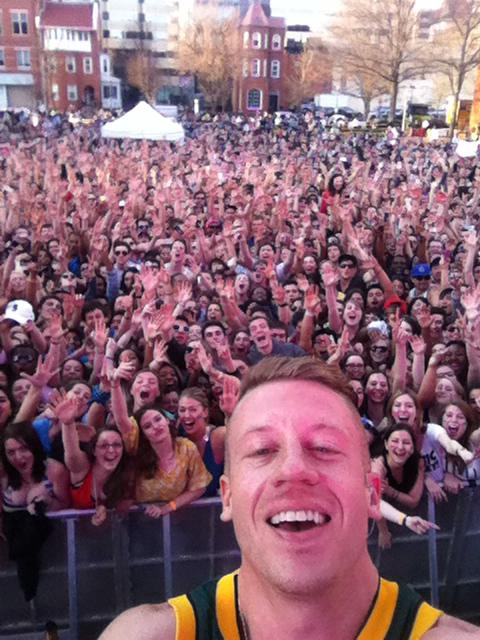 Macklemore selfie at GW Fall Fest 2013. Photo courtesy of Reddit User GWizzle.