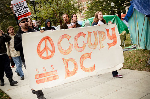 Protesters rally against rising college debt loads in 2011. Hatchet File Photo