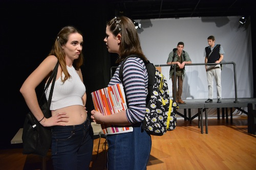 """Caroline Multerer, left, as Chastity and Hannah Friedman as Bianca Stratford have a sassy moment in the """"10 Things I Hate About You"""" play. Madeleine Cook 