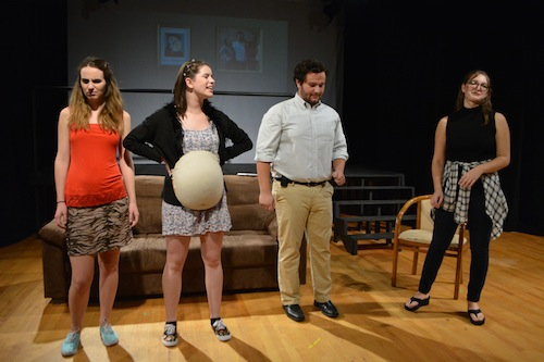 """Students Caroline Multerer, left, Hannah Friedman, second from left, Matt Medeiros, second from right, and Michelle Desien act in a comical scene in the adaptation of the well-known movie """"10 Things I Hate About You."""" Madeleine Cook 