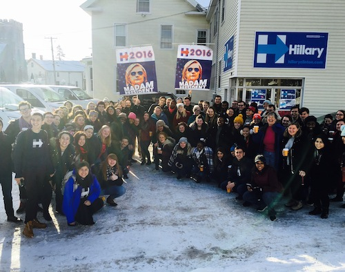 Students from GW for Hillary spent the weekend in New Hampshire canvassing before the primary. Photo Courtesy of GW for Hillary