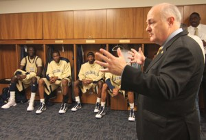 President Steven Knapp, men's basketball, locker room, pep
