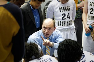 Women's basketball head coach Jonathan Tsipis watched as his team fell to its second ranked opponent of the season Friday – a 80-60 loss to Georgia. Hatchet File Photo