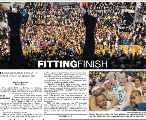 A 2006 Hatchet front page, the issue after the Colonials clinched a perfect conference record.