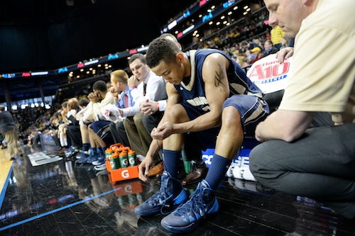 Sophomore Kethan Savage, who has been out for most of the season with a foot injury, saw a brief appearance on the court Saturday. Samuel Klein   Photo Editor