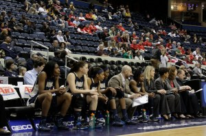 The Colonials sit on the bench during the second half as they saw their A-10 Championship hopes fade away. | Hatchet Staff Photographer Josh Solomon