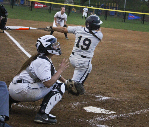 Then-junior Tori Valos hits a home run for the Colonials against Georgetown. Valos graduated from GW earlier this month. Hatchet File Photo