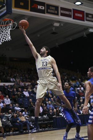 Junior Patricio Garino has been shredding defenses through GW's last three games where he's shot nearly 70 percent from the field. Garino has found extra space due to the improved play of classmate Kevin Larsen. Cameron Lancaster | Photo Editor.