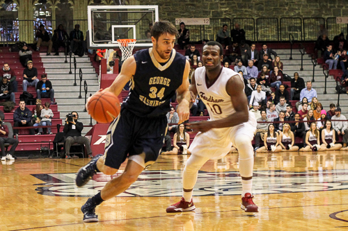 Senior John Kopriva scored 19 points, tying a career-high, to lead the Colonials in a 79-59 rout of Fordham. Mark Eisenhauer | Hatchet Staff Photographer