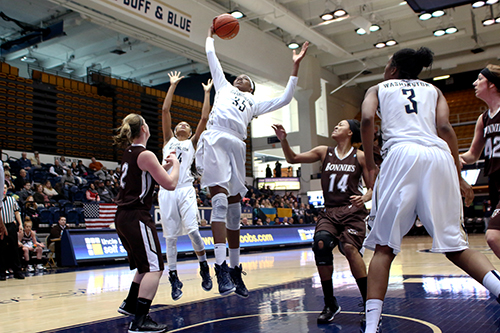 Junior Jonquel Jones jumps for a layup in the Colonials 70-48 win over St. Bonaventure Sunday. Jones posted her fifteenth double-double of the season with 17 rebounds and 13 points. Desiree Halpern | Contributing Photo Editor