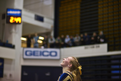 Sophomore Chelsea Raineri celebrates a successful floor performance.