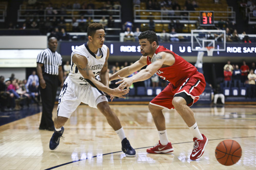Junior Joe McDonald recorded a double-double with 11 points and 11 rebounds as the Colonials fell to the Wildcats 65-63. Cameron Lancaster | Photo Editor