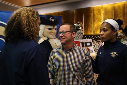 Athletic director Patrick Nero enjoys the watch party for the Women's NCAA Tournament selection show in March. Nero has said that building an active donor base for sports at GW will be critical for continued growth in athletics. Hatchet File Photo.