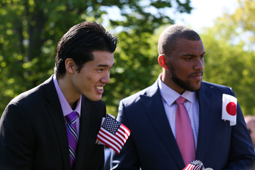 Freshman Yuta Watanabe and junior Kevin Larsen on a visit to the White House to watch the arrival ceremony for Shinzo Abe, the Prime Minister of Japan. Watanabe was invited as a sports ambassador between the U.S. and Japan. Hatchet File Photo