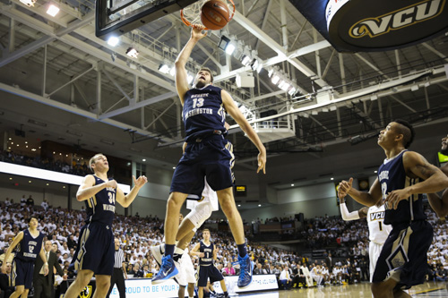 Patricio Garino slams a dunk against VCU last season. The former Colonial and Argentine Olympian has agreed to a deal with the San Antonio Spurs. Dan Rich | Contributing Photo Editor