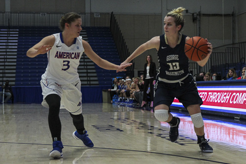 Senior guard Shannon Cranshaw battles a defender at American on Dec. 7. Cranshaw's 41.7 percent three-point shooting clip is second-best in the Atlantic 10.