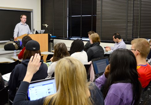 Adjunct professor Philip Muehlenbeck teaches a U.S. diplomatic history class. Hatchet File Photo