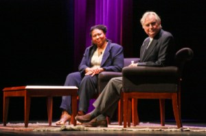 Richard Dawkins discusses his memoir at Lisner Auditorium with journalist Jamila Bey. Desiree Halpern | Hatchet Staff Photographer