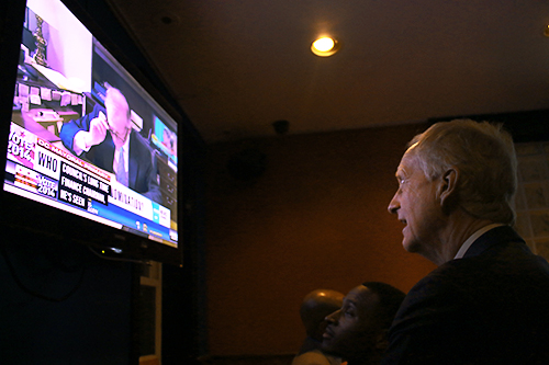 Foggy Bottom's Council member Jack Evans watches results come in at Stoney's Lounge. Nicole Radivilov | Hatchet Staff Photographer