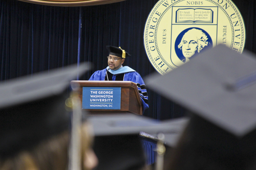 Student speaker David Surratt addressed his fellow graduates at the Graduate School of Education and Human Development celebration on Saturday. Zach Montellaro | Hatchet Staff Photographer