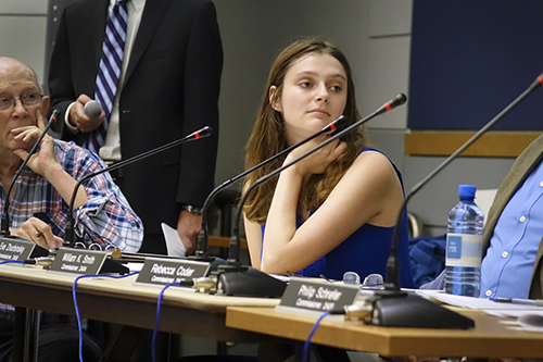 Eve Zhurbinskiy, a commissioner of the Foggy Bottom and West End Advisory Neighborhood Commission,  plans to submit written testimony in support of a D.C. Council bill that will remove the sales tax on feminine hygiene products.  Jillian DiPersio   Hatchet Photographer