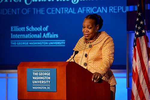 Catherine Samba-Panza, the transitional president of the Central African Republic, spoke in Jack Morton Auditorium on Tuesday. Ashley Le | Hatchet Photographer