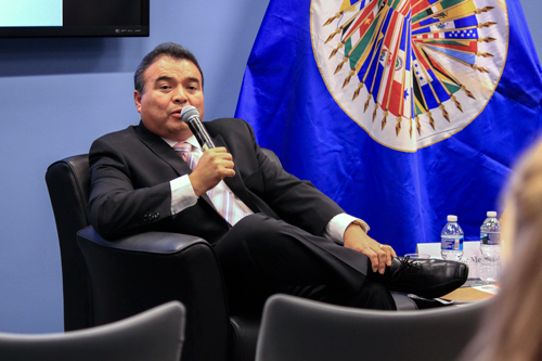 "OAS Assistant Secretary General, H.E. Nestor Mendez, speaks about a ""hemispheric mission"" for the OAS. Anne McBride | Hatchet Staff Photographer"