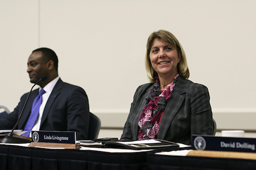 Linda Livingstone, business school dean, said that a $4.8 million gift to fund a new professorship will enhance the future scholarship of the school. Hatchet file photo.