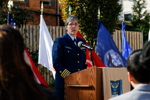 Luann Barndt, a U.S. Coast Guard Academy alumna and Coast Guard retiree, spoke about the importance of women in the military during the Friday morning ceremony. Charlie Lee | Senior Staff Photographer