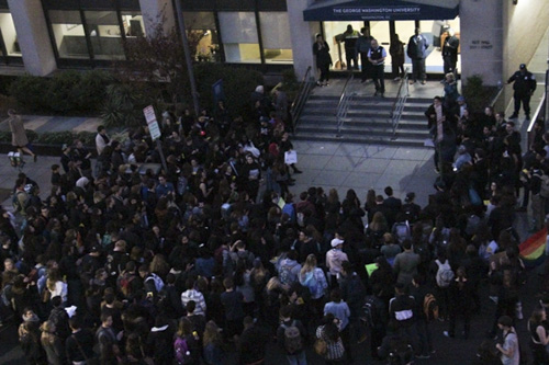 The supporters ended their protest by congregating around Rice Hall, home to The George Washington University administration, and presenting their demands. Jack Borowiak   Hatchet Photographer