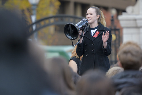 Senior Becky Gardner took to the megaphone and used her own personal experiences to denounce the past words and actions of Donald Trump. Sam Hardgrove | Assistant Photo Editor