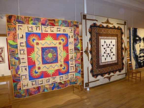 Two of the Men's Round Robin quilts.