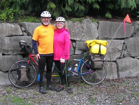 Bruce and Karen, a tandem team and B&B owners from Ohio, on spring tour in May before the tourist season back home.