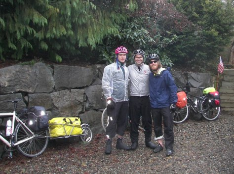 Peter, Eric, and Shaun prepare to head south toward drier and warmer climes.  January, 2014.