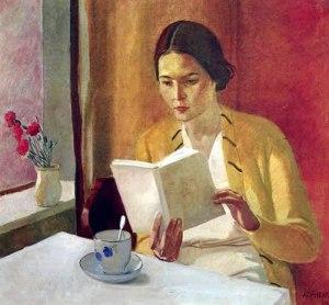 """""""Mujer leyendo en un interior"""", de Ricardo Lopez Cabrera (Museo de Bellas Artes de Granada, 1898)."""