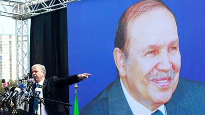 Abdelmalek Sellal campaigns for the incumbent Algerian President Bouteflika