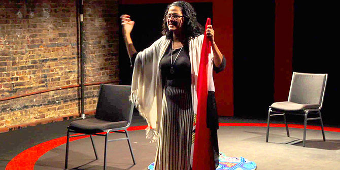 Egyptian actress Dalia Basiouny performing at the La MaMa Experimental Theatre
