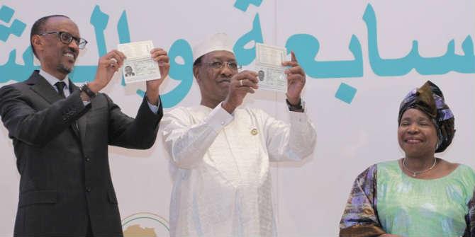 Rwanda's President Paul Kagame, Chad's President Idriss Deby, and Chairperson of AUC Nkosazana Dlamini Zuma unveiling AU passports  Photo Credit: AU