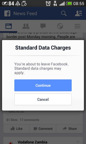 Zambia 'social bundle' internet users receive a warning on their mobile phone as soon as they leave Facebook Photo Credit: Wendy Willems