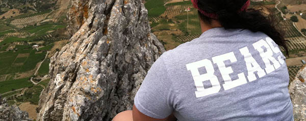 Student wearing Bears shirt on a study away trip